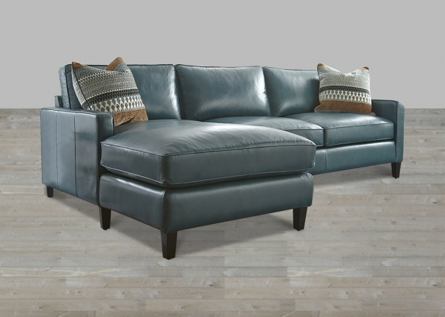 Turquoise Blue Genuine Leather Sectional With Chaise Photo 21