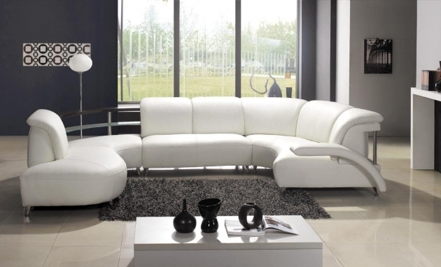 White Modern Leather Sectional Sofa With Chaise And Unique Design Image 22