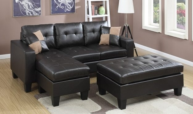Akali Sectional Chaise Lounge Sofa With Ottoman Tufted Microfiber And Faux Leather Image 86