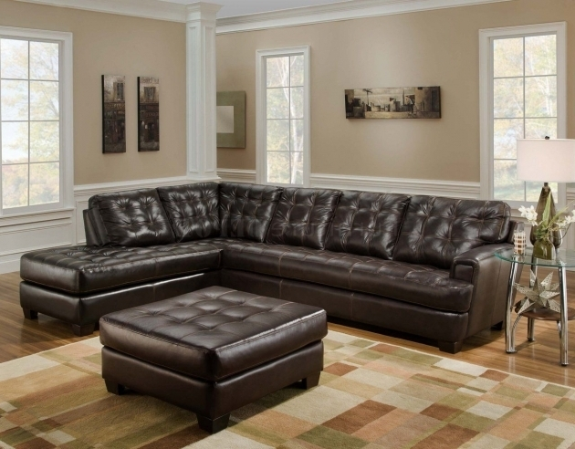 Brown Leather Sectional Chaise Lounge Sofa With Ottoman Furniture On The Square Pattern Carpet Ideas Images 13