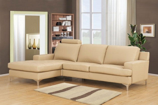 Cream Bonded Leather Sectional Sofa With Reversible Chaise Lounge Picture 41