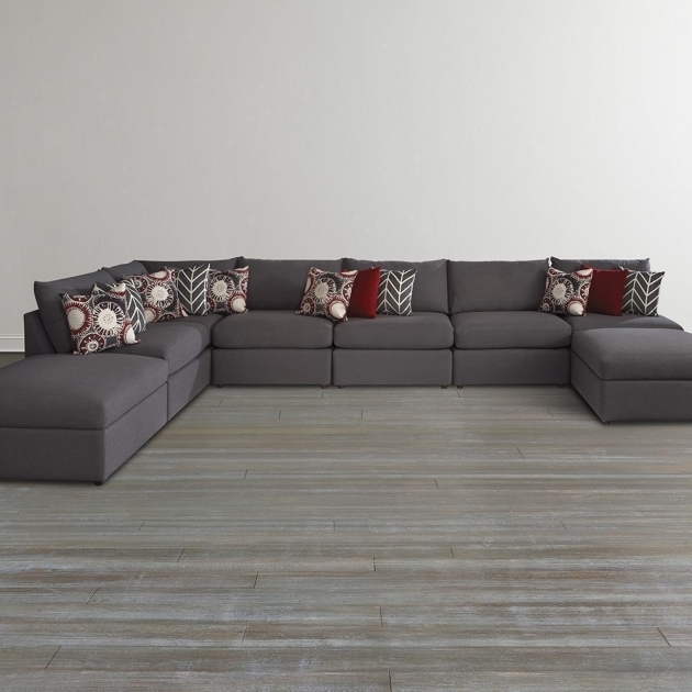 Gray U Shaped Leather Sectionals With Chaise For Living Room With Hardwood Floor Tiles Photos 33