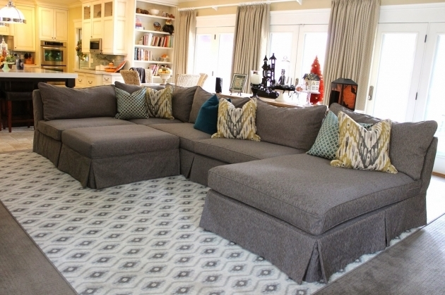 Grey Slipcover For Sectional Sofa With Chaise Furniture With Pillows And Modern Area Rug Image 83