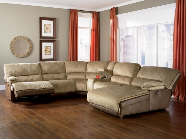 Light Brown Sectional Sofa With Recliner And Chaise Lounge On Brown Harwood Floor Images 47