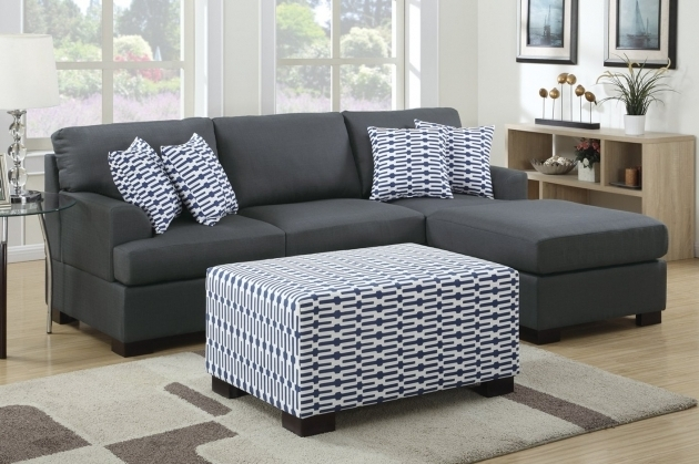 Poundex Camille F7990 Black Fabric Sofa With Reversible Chaise Lounge Image 71