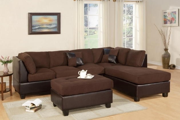 Poundex F7615 Chocolate Sofa With Reversible Chaise Lounge With Ottoman Picture 13