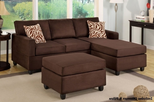 Rae Chocolate Microfiber Sectional Chaise Lounge Sofa With Ottoman Pictures 27