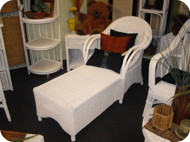 Unique Painted Rattan White Wicker Chaise Lounge Photo 72