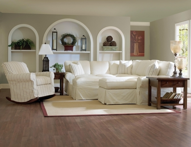 Victorian Style Sectional Slipcovered Sofa With Chaise Pictures 03