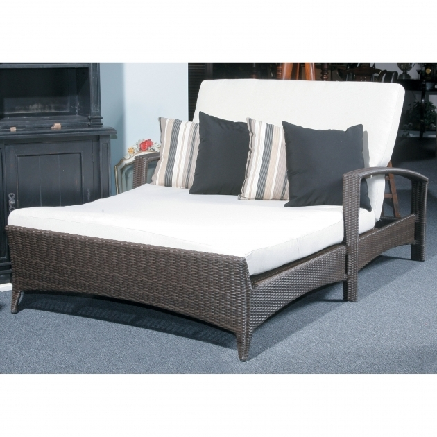 White FabricDouble Chaise Lounge Cushions With Fold Up Back Having Black Rattan Arm Picture 25