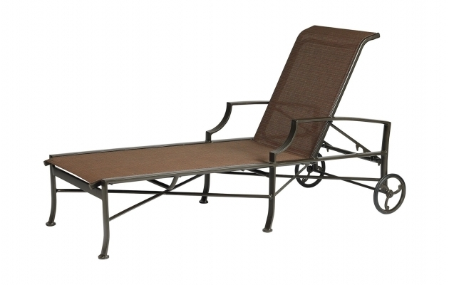 Aluminum Sling Chaise Lounge Chair With Wheels Living Room Image 16