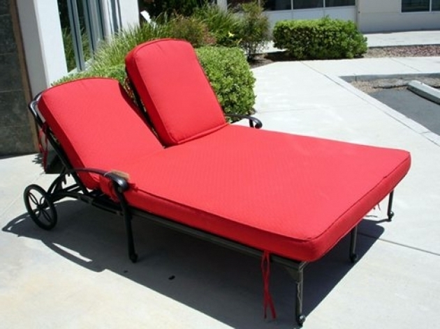 Black Polished Wrought Iron Double Chaise Lounge Cushions On Sale With Red Cushion Picture 79