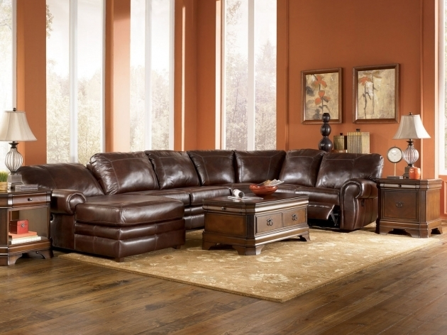 Brown Leather Sectional With Chaise And Recliner Living Room Furniture Photos 14