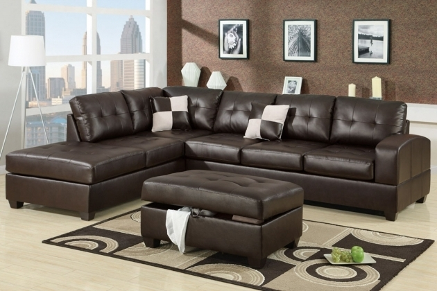 Dark Brown Leather 2 Piece Sectional Sofa With Chaise For Modern Living Room Ideas Photos 67