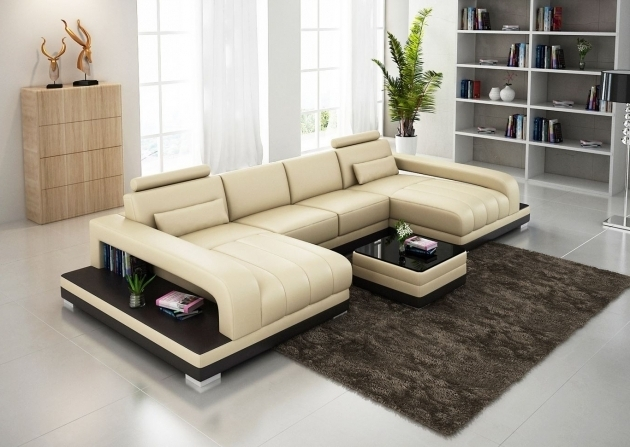 Double Chaise Sectional Sofa Plush Beige Leather With Table And Ergonomic Back Design Pictures 90