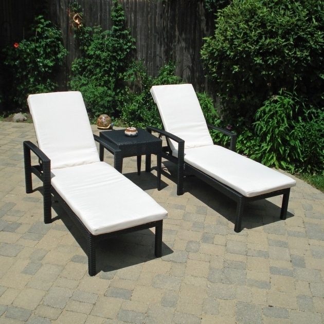 Double Outdoor Chaise Lounge Clearance Design With Black Metal And Wicker Photo 74