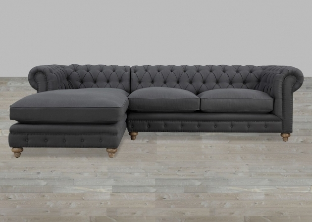 Grey Linen Raf Tufted Sectional Sofa With Chaise Picture 94