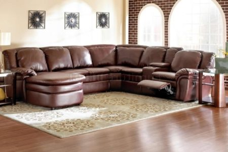 Leather Sectional with Chaise and Recliner