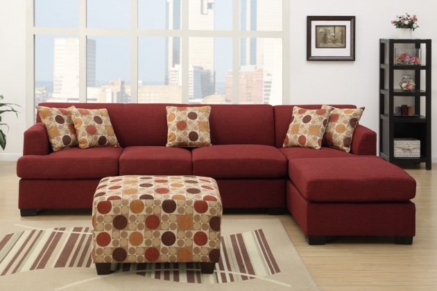Microfiber Red Sectional Sofa With Chaise And Some Accent Pillows With Polka Dots Pattern Photo 25