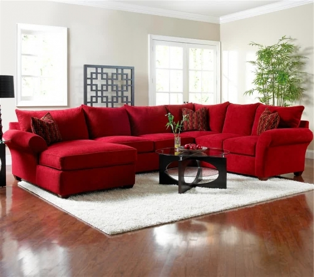 Red Sectional Sofa With Chaise Microfiber Ideas And Throw Pillows A Glass Top Coffee Table Photos 23