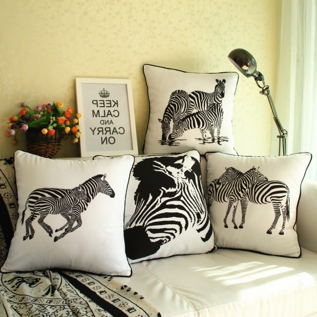 Wild Animal Cheap Chaise Lounge Cushions Black And White Zebra Throw Pillows Case Image 80