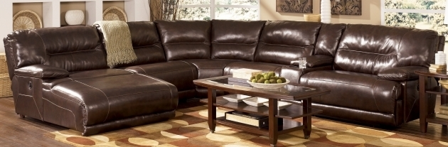 Brown Leather Sectional With Chaise Recliner Divani Casa Booth Modern Light Photos 17