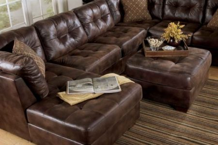 Brown Leather Sectional with Chaise