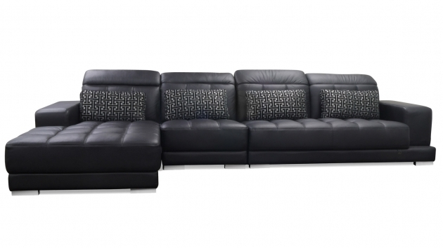 Conrad Large Black Leather Sectional With Chaise Photos 27