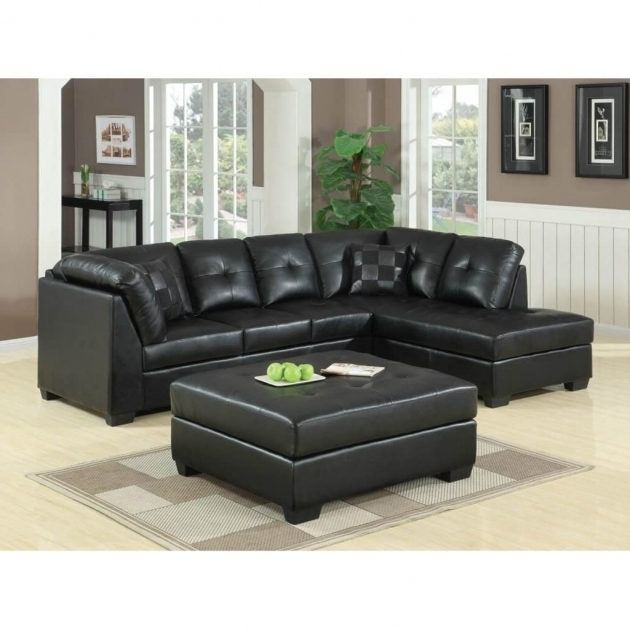 Black leather sectional sofa with chaise for Black sectional with chaise