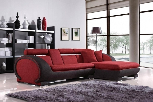 L Shape Futuristic Two ToneFabric Sectional Sofas With Chaise In Red And Black Colors Photos 12