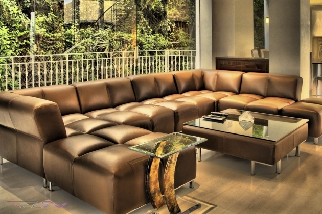 Modern Brown Leather Sectional With Chaise For Living Room Chaise Lounge Images 04