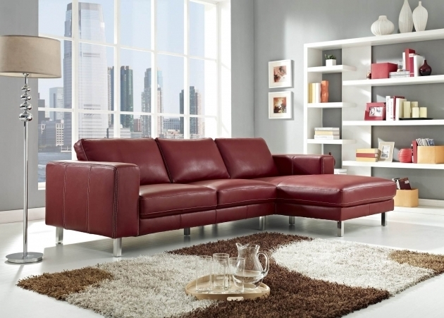 Modern Red Leather Couch With Chaise Sectional Sofas Picture 08