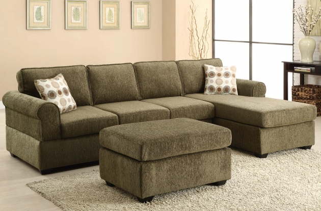 Reversible Fabric Sectional Sofas With Chaise In Sage Green Color And Ottoman Image 27