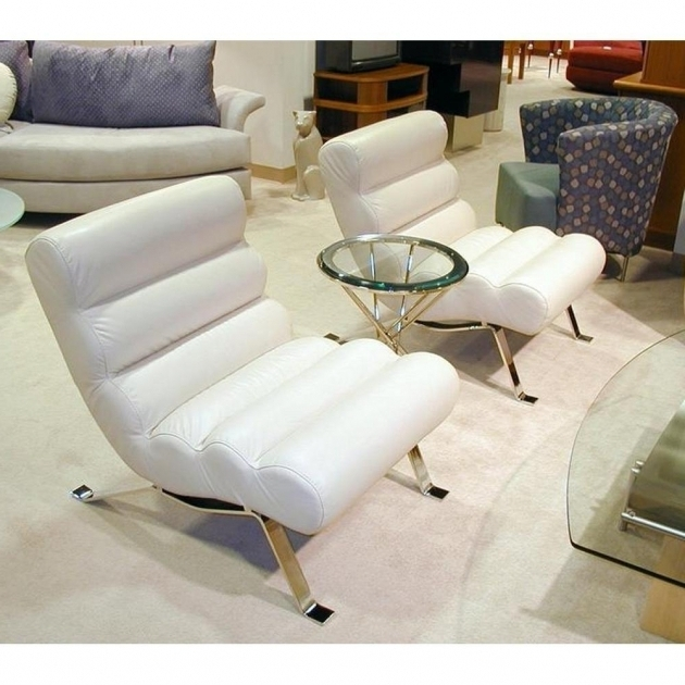 Ripley Mid Century Modern Chaise Lounge White Leather Picture 97