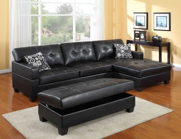 Shaped Black Leather Couch With Chaise Sofa On The Left Side  Photos 50