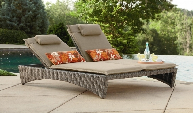 Wicker Double Chaise Lounge Cushions Outdoor With Headrest For Patio Furniture Ideas Images 61