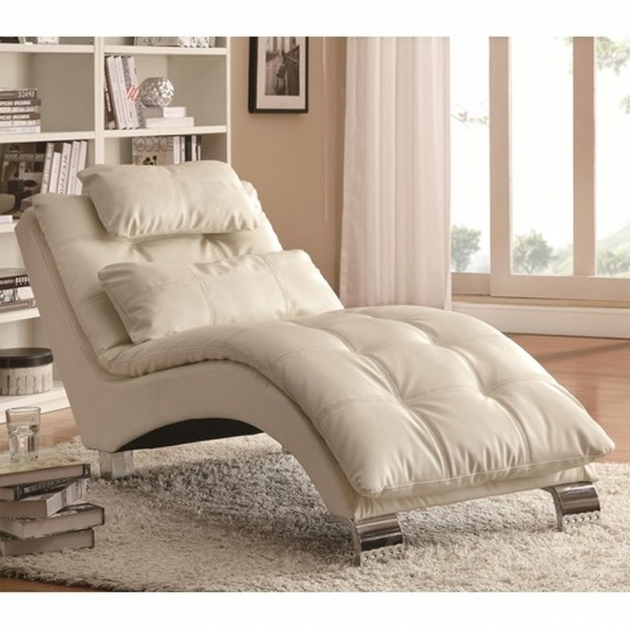 Coaster White Leather Chaise Lounge Sofa Image 42
