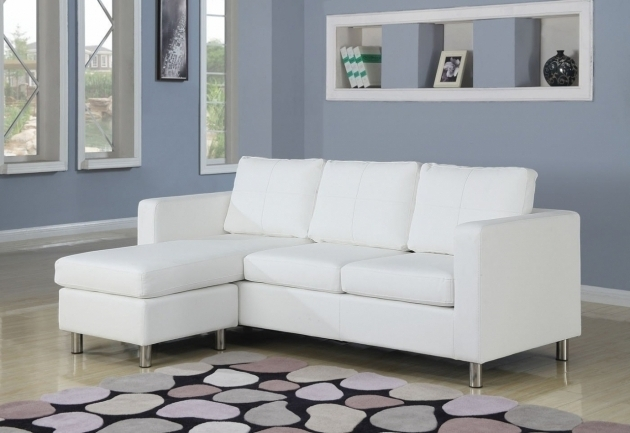 Living Room White Leather Small Sectional Sofa With Chaise Pictures 96