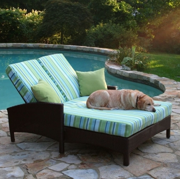 Outdoor Wicker Double Chaise Lounge Cushion Images 04