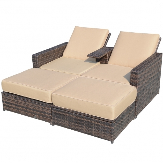 Outsunny Outdoor 3 Piece PE Rattan Wicker Double Chaise Lounge Cushion Pictures 88