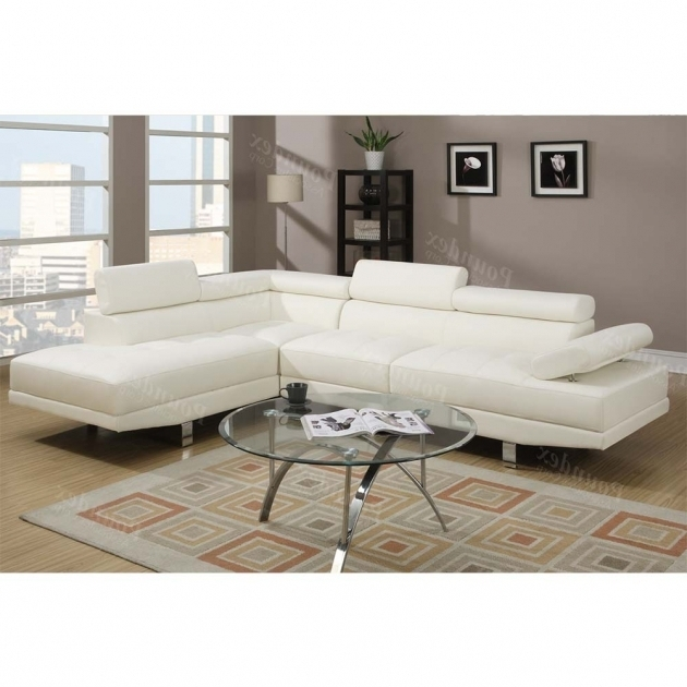 Poundex Modern 2 Pieces White Sectional Sofa With Chaise Images 59