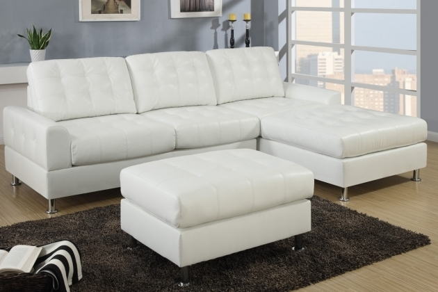 Small L Shaped Tufted Leather White Sectional Sofa With Chaise Photo 42