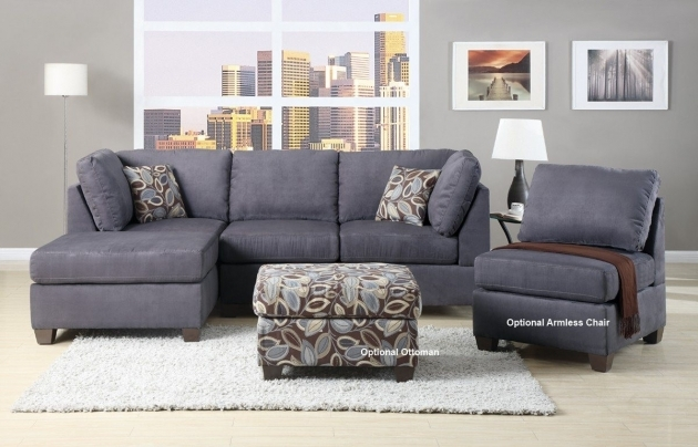 Charcoal gray sectional sofa with chaise lounge microsuede for Grey microsuede sectional sofa