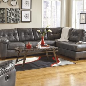 Charcoal Gray Sectional Sofa with Chaise Lounge