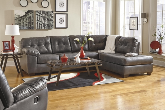 Charcoal Gray Sectional Sofa With Chaise Lounge Design By Ashley/color/alliston Durablend Pic 27