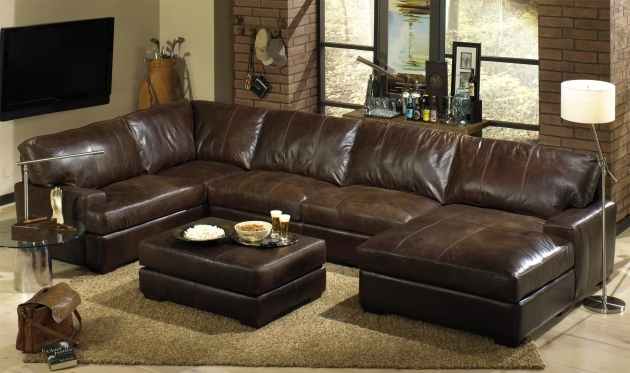 Dark Leather Sectional With Chaise Picture 53