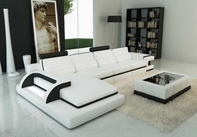 Modern White Leather Sectional With Chaise Image 71