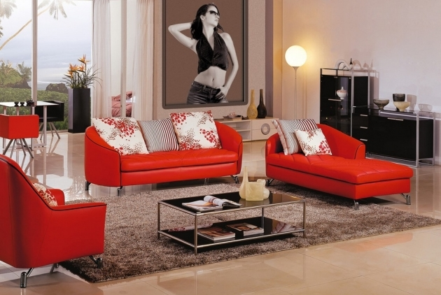 Red Leather Chaise Lounge Crimson Red Colored Chaise Lounge For Living Room Installed In Front Pic 46