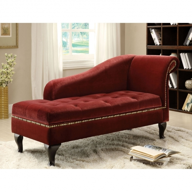 Red Leather Chaise Lounge Red Velvet Double With Curved Backrest And Short Wooden Base Photos 70