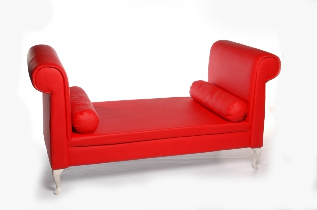 Red Leather Chaise Lounge With Double Rolled Arm Plus Cylinder Cushion Picture 12